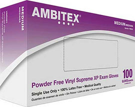 AMBITEX Powder-free Vinyl Exam Gloves, Supreme XP