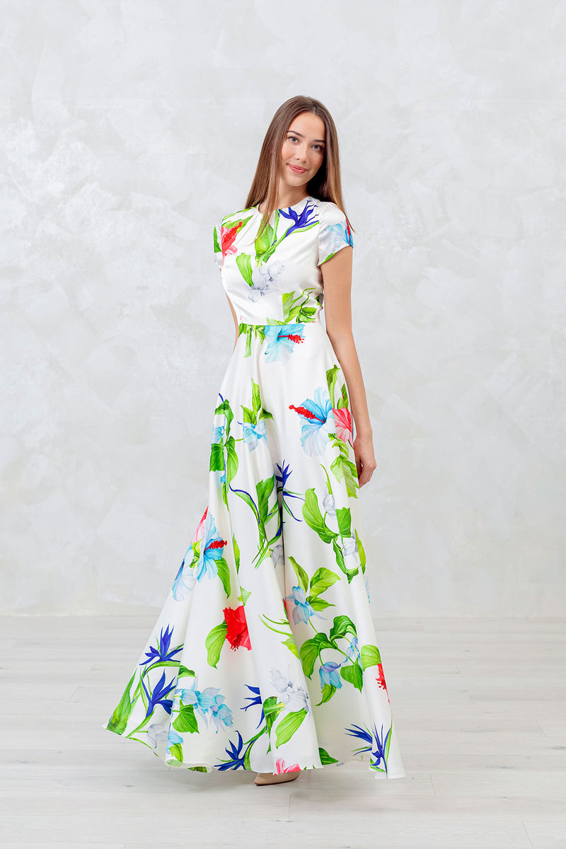 Paradise Bird Flower Long Dress
