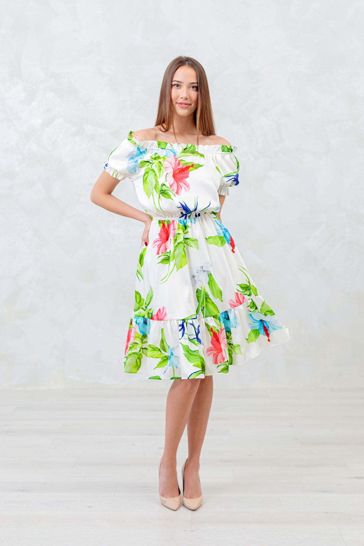 Paradise Bird Flower Short Dress