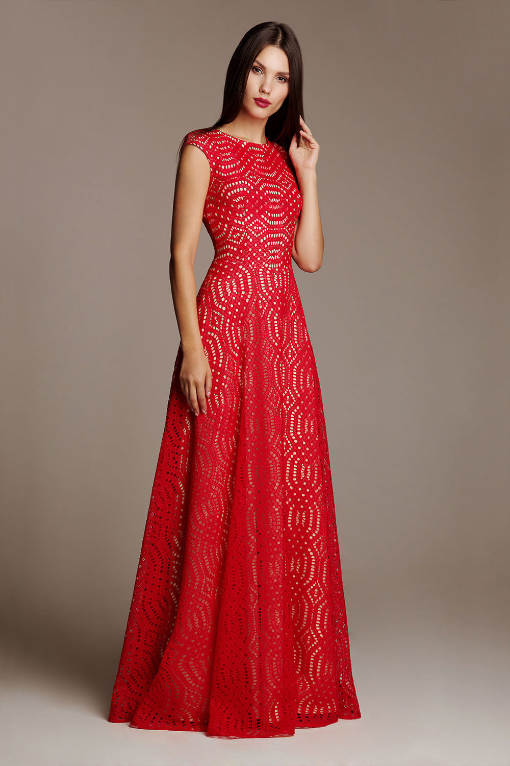 Red lace evening dress Laureen Rouge – Liina Stein