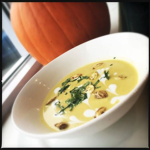 Curried Pumpkin Soup with Maple Syrup & Candied Pumpkin Seeds