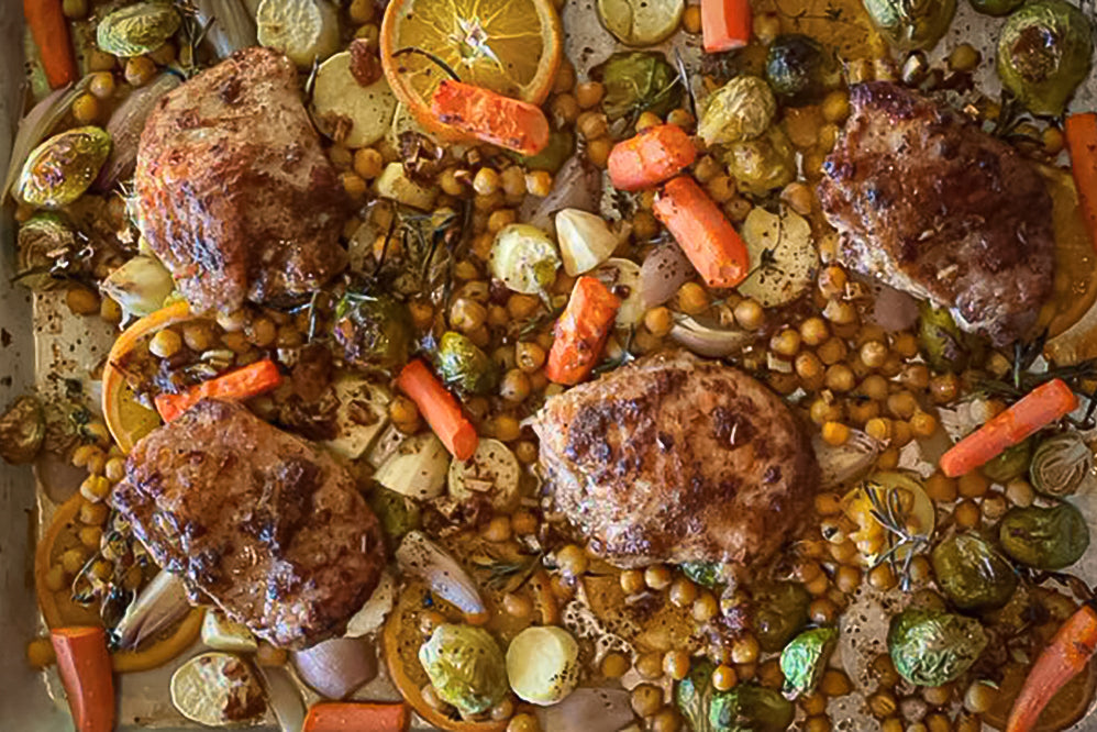 Sheet Pan Citrus Turkey Thighs with Root Vegetables & Chickpeas