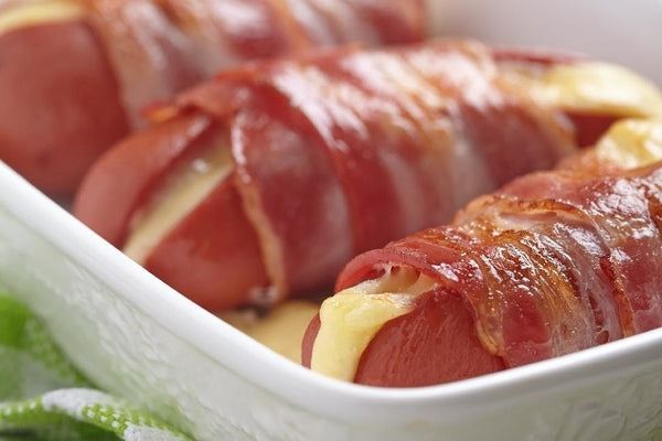 Bacon Wrapped & Cheese Stuffed Hot Dogs