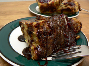 Cranberry Chocolate Bread Pudding with Classic Crème Anglaise