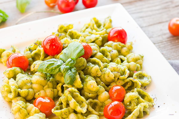 Truffle Pesto Pasta with Roasted Cherry Tomatoes