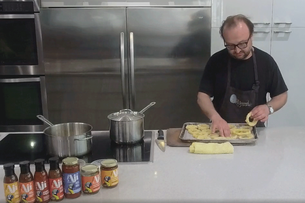 Cook Along with Chef Deniz: Peruvian Style Crispy Fried Onions with Dyana's Aji Chunky Chili Sauce
