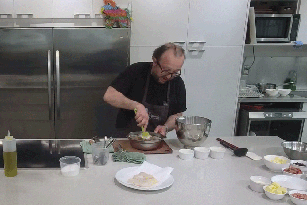 Cook Along with Chef Deniz: Chocolate Soufflé with Rhubarb Caramel and Almond Biscotti