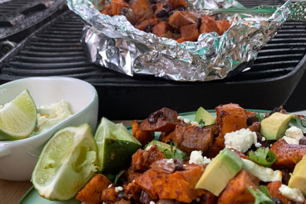 Late Summer Foil Pouch Series: Mexican Sweet Potatoes with Black Beans