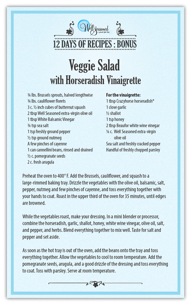 Veggie Salad with Horseradish Vinaigrette - Bonus Recipe for our 12 days of Recipes 2016 | Well Seasoned, a gourmet food store in Langley serving the Lower Mainland, Fraser Valley and Metro Vancouver