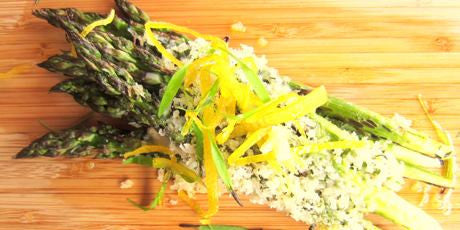 Baked Asparagus, Parmesan Crust, Candied Lemon Zest & Truffle Zest | Recipe | Well Seasoned, a gourmet food store serving the Lower Mainland and Fraser Valley