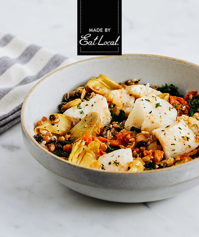 Nutrition details for Mediterranean Cod with Farro & Black Barley