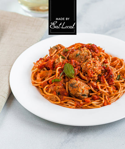 Nutrition details for Mediterranean Spaghetti with Chicken Meatballs