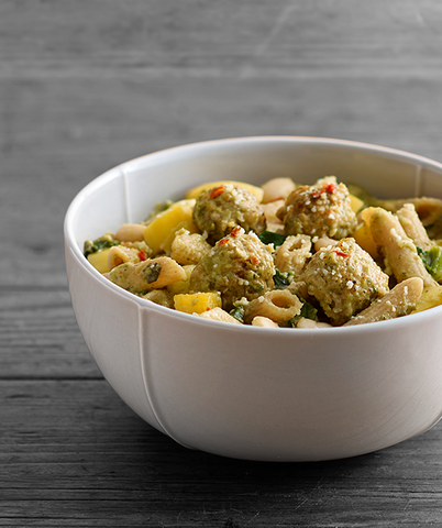 Nutrition details for Creamy Pesto Pasta with Chicken Meatballs
