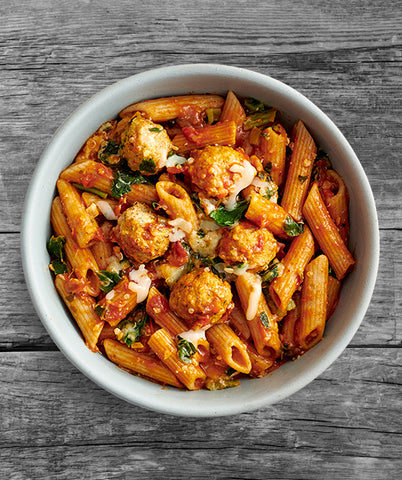 Tomato Basil Pasta with Chicken Meatballs