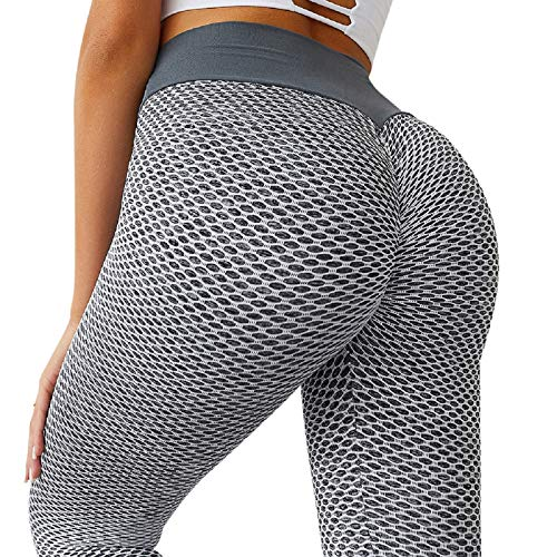 Women's Ruched Butt Lifting High Waist Yoga Pants Tummy Control Stretchy Workout Leggings Textured Booty Tights(Medium,#1 Grey)