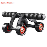 Three Four Wheels Ab Abdominal Exercise Roller With Extra Thick Knee Pad Fender Body Fitness Training Machine Ab Wheel Gym Tool