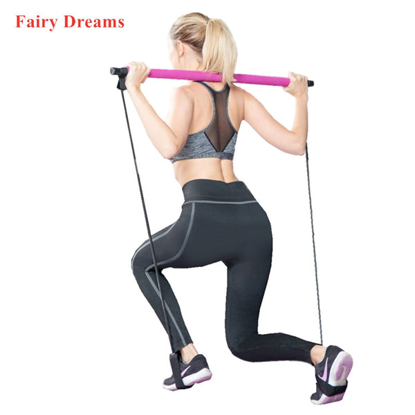 Gym Home Fitness Equipment Multi-Functional Portable Pilates Stick Yoga Pull Rod Crossfit Body Building Workout Rubber Tube
