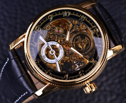 Men Hollow Engraving Skeleton Watch