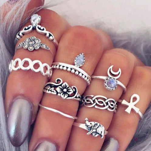 10pc Knuckle Finger Ring Set Turkish Crystal Boho Style