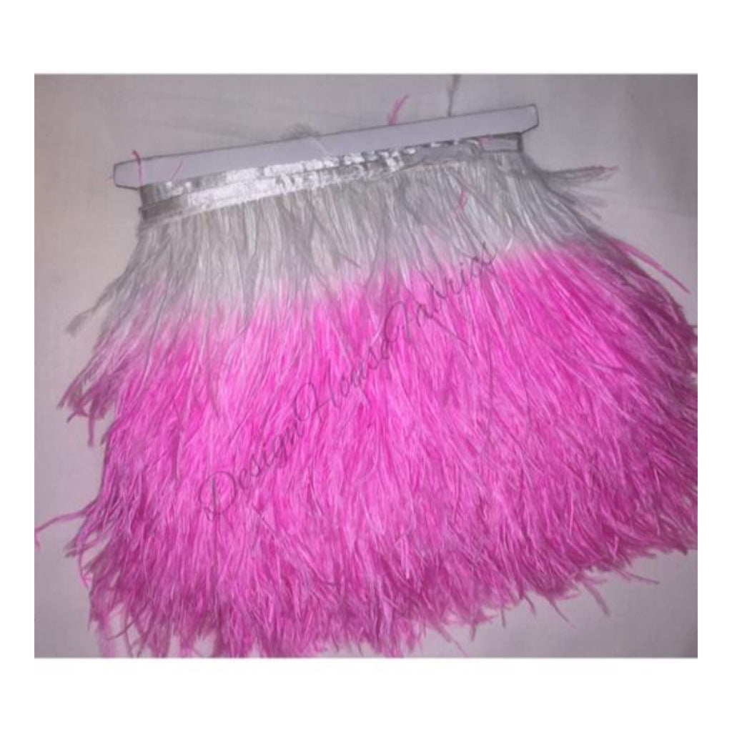 Ostrich feather trim- 2 tone pink & white