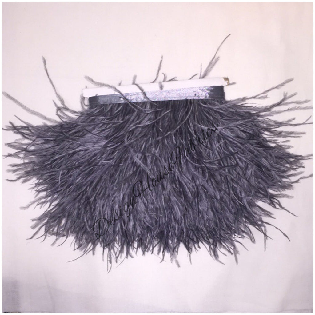 Ostrich feather trim- grey