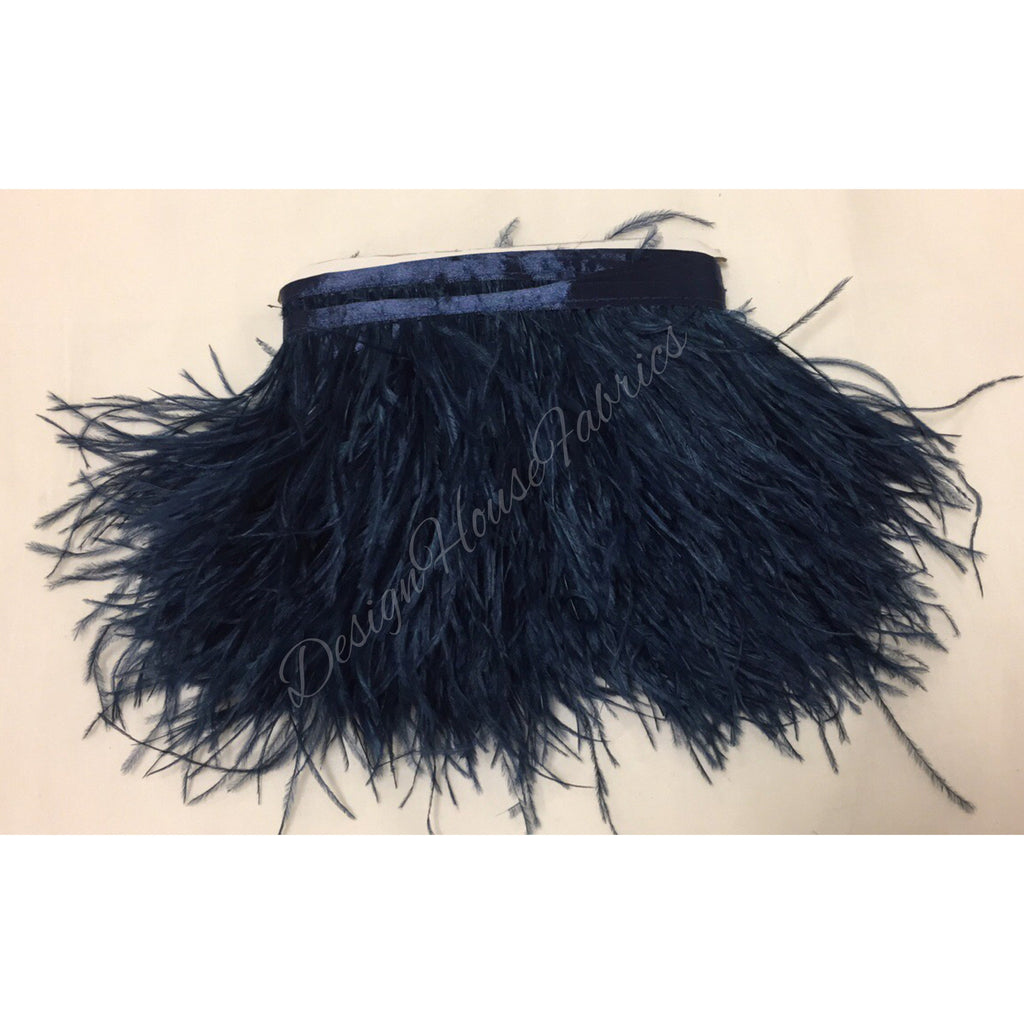 Ostrich feather trim- Navy