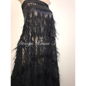 Feather Sequin- Black on Black