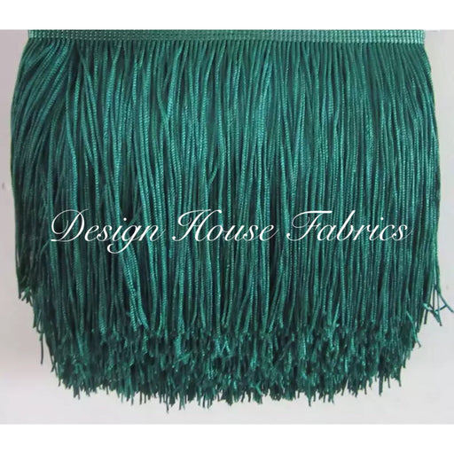 Chainette Fringe Lace Trim 4in- Dark Green