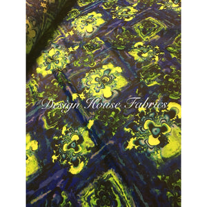 Hippie Print Spandex - Blue/Lime