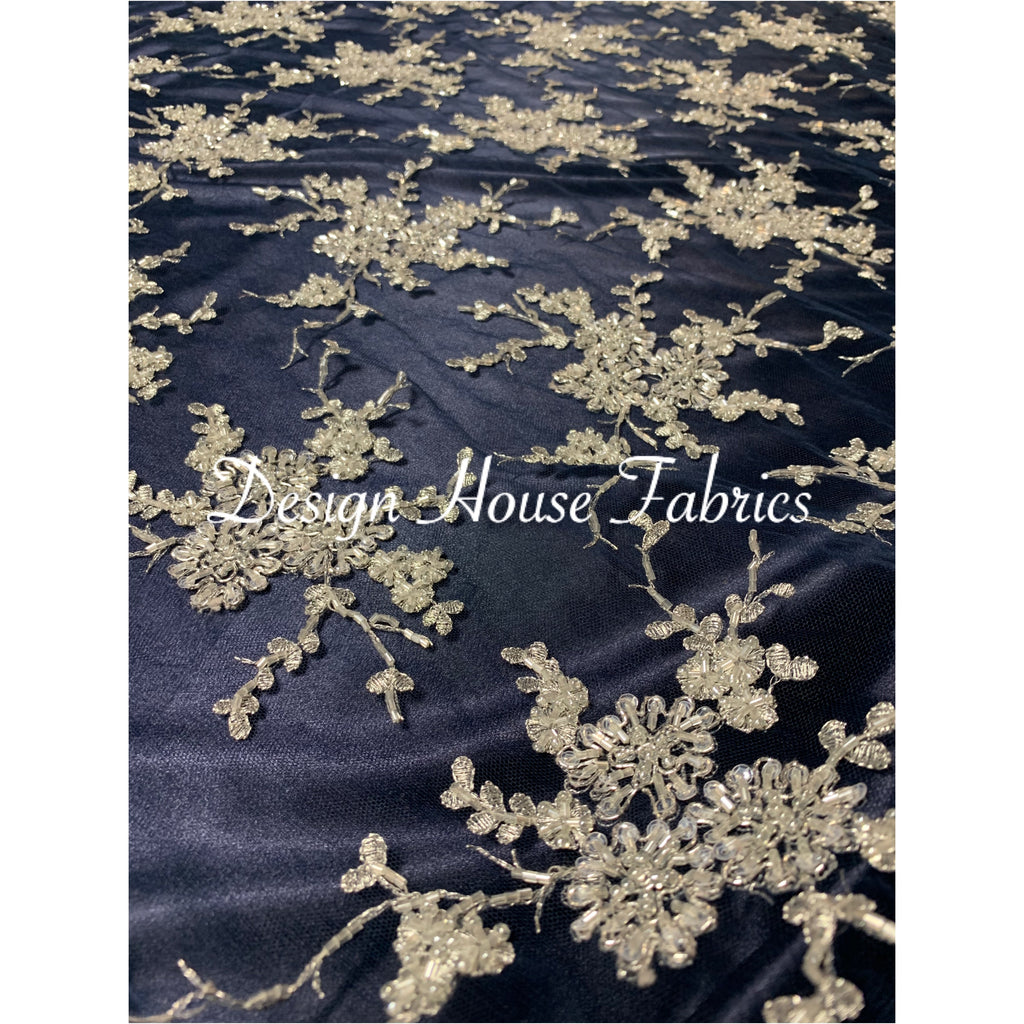 Floral beaded lace 7 - Silver on Navy Blue