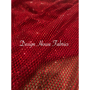 Rhinestone Fishnet  - Red on Red