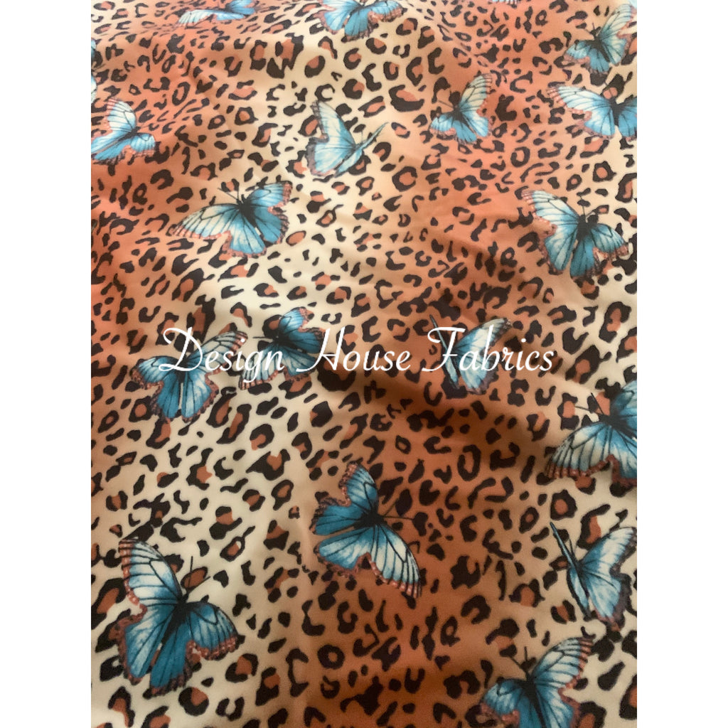 Animal Print Butterfly - Blue/Coffee