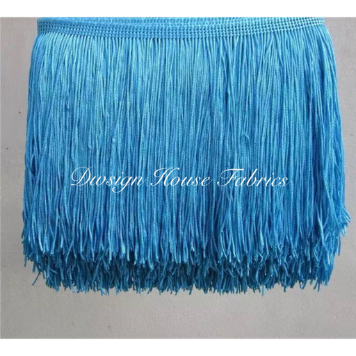 Chainette Fringe Lace Trim 4in- Blue