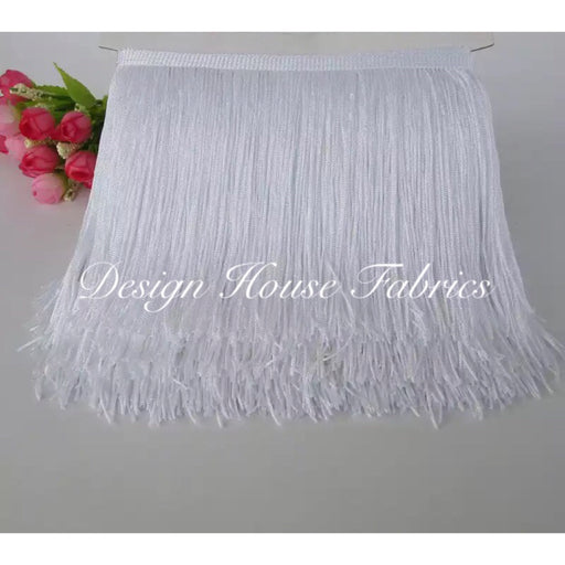 Chainette Fringe Lace Trim 4in- White