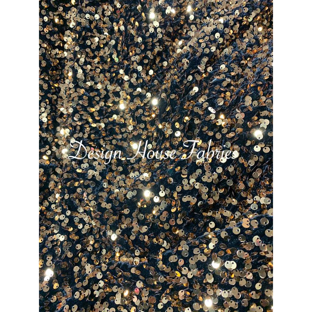 Pile Sequin/Velvet - Gold/Black