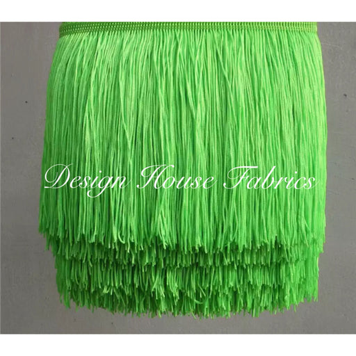 Chainette Fringe Lace Trim 4in- Fluorescent Green