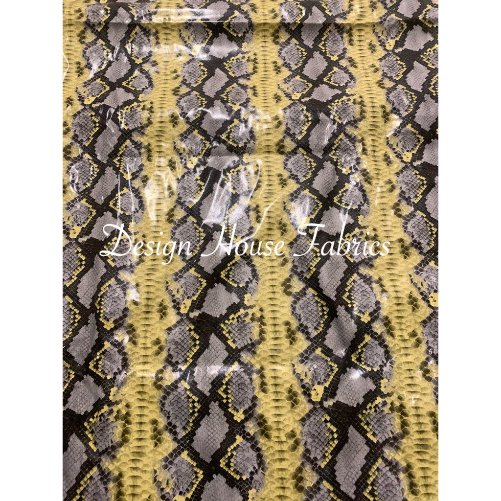Stretch Snake PVC Vinyl - Yellow/Grey
