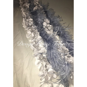 Ostrich Feather 3D Flower Mesh-Grey