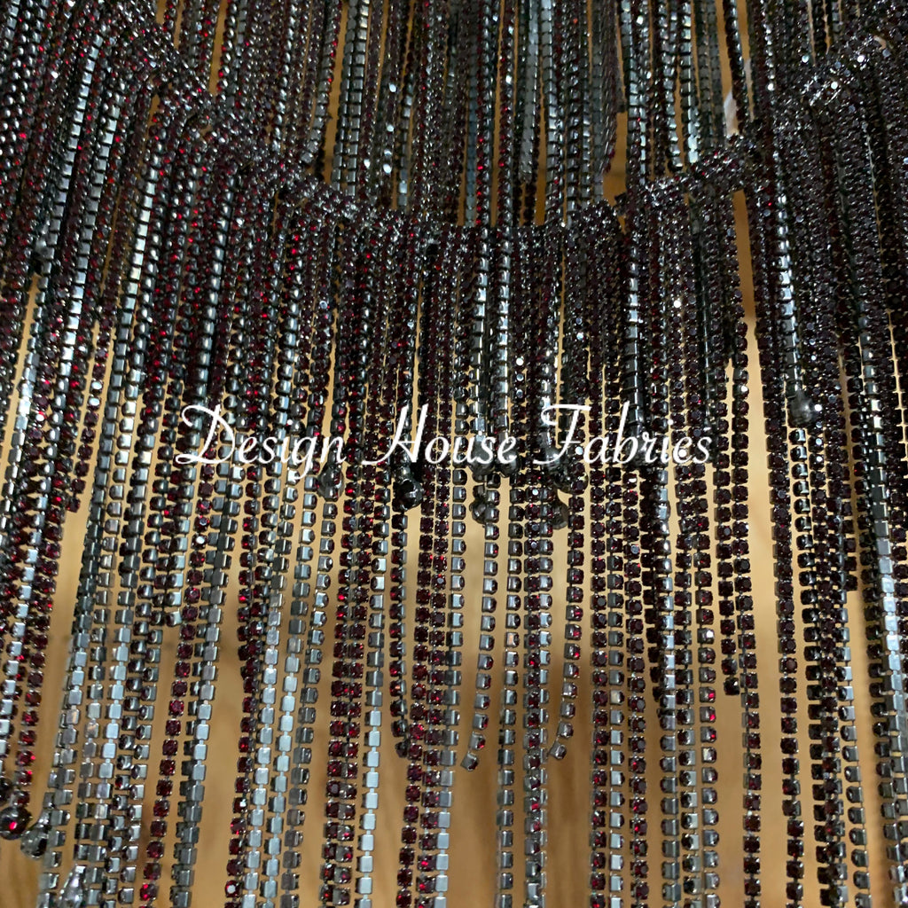 Rhinestone Fringe Trim 6in- Black/Burgundy