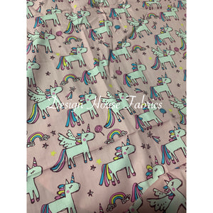 Cotton Unicorn Print - Pink