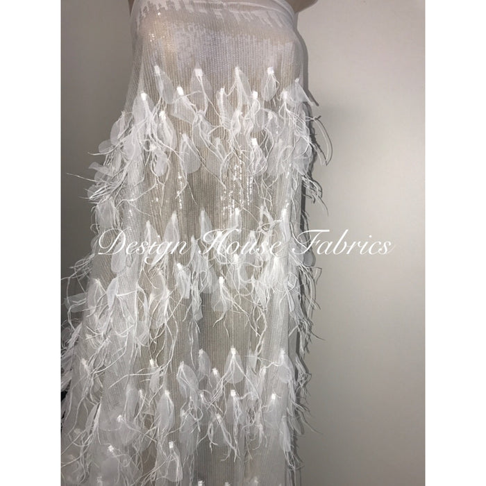Feather Sequin- White on White