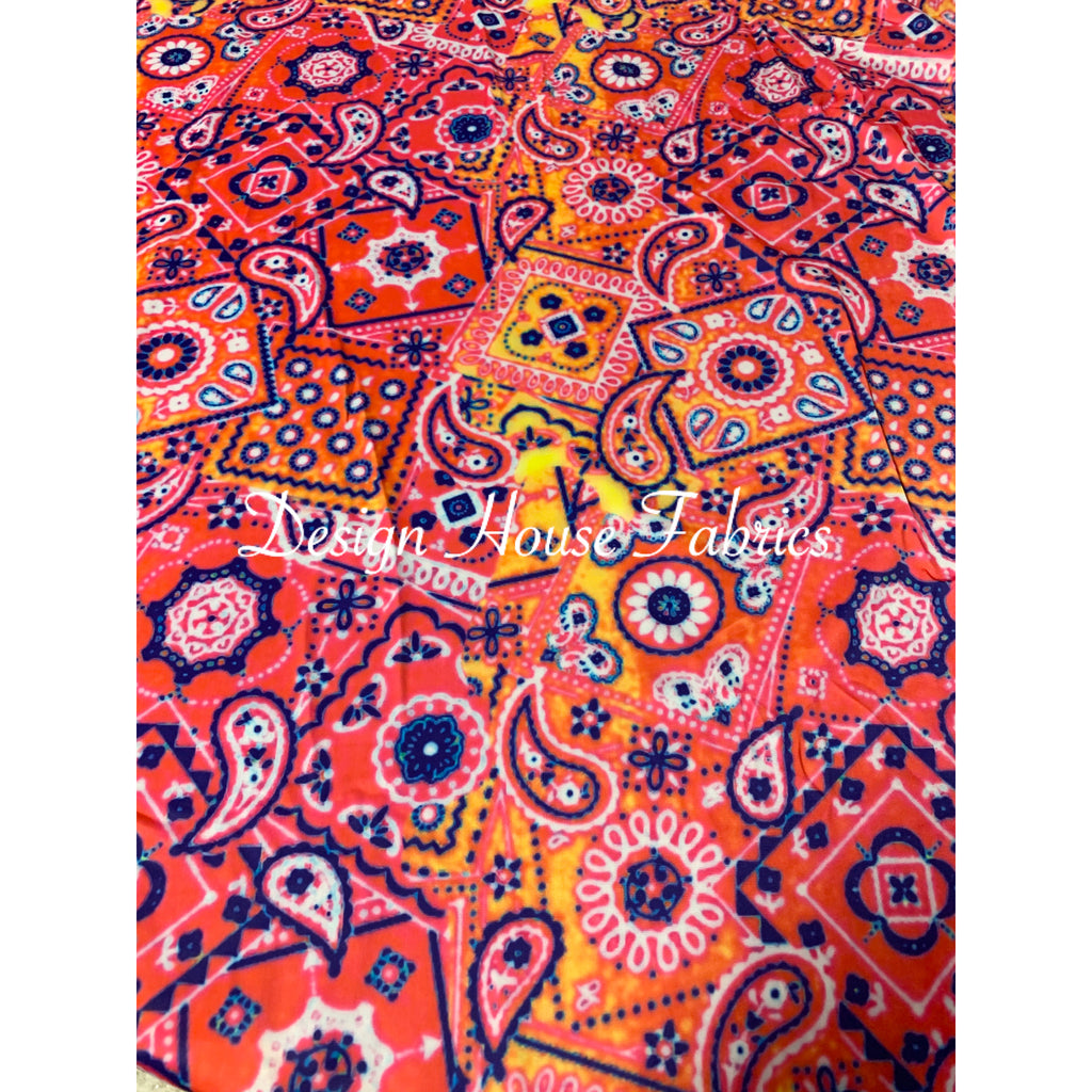 Paisley Print - Blue/Red