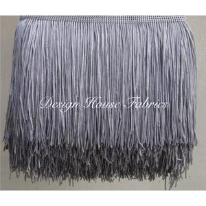 Chainette Fringe Lace Trim 4in- Grey