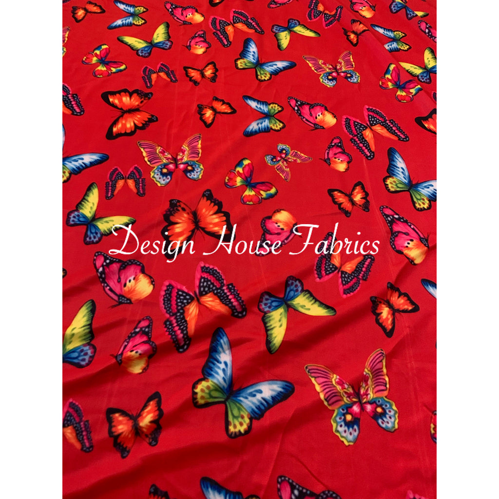 Butterfly Print Spandex- Red