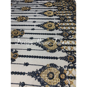 10. Beaded lace 1 - Navy Blue/Gold on Blue