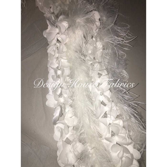 Ostrich Feather 3D Flower Net-White