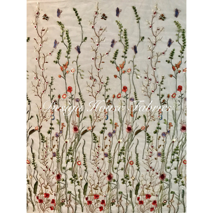 Embroidered Floral Garden- White on White
