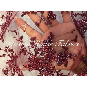Floral beaded lace 8 - Burgundy on Burgundy