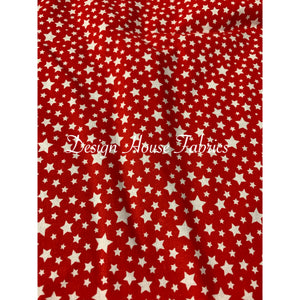 Cotton Star Print - Red