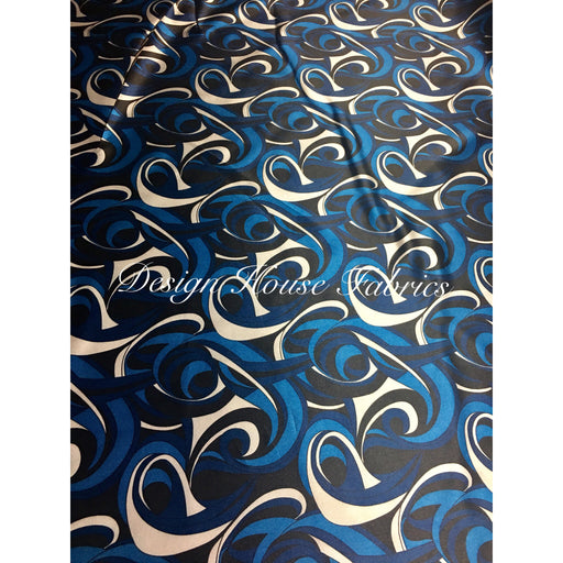 1. Satin Charmeuse Print 2 - Blue/White